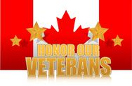 Stock Illustration of canada honor our veterans gold illustration sign design on white