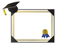 An isolated generic college diploma with cap and tassel Stock Illustration