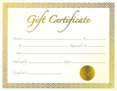 Gold gift certificate with golden seal and design border. Stock Illustration