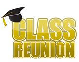 Stock Illustration of class reunion graduation cap isolated on white background.