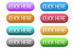 Click here web button in different colors isolated over a white background. Stock Illustration