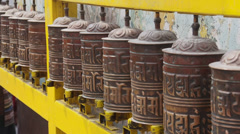 Tibetan Buddhist Prayer Wheels at Boudhanath Stupa in Kathmandu, Nepal Stock Footage