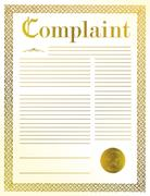 complaint legal document illustration design with golden seal - stock illustration