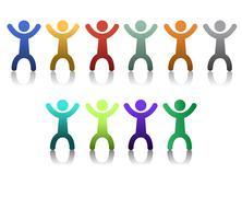 diversity people icons isolated over a white background. - stock illustration