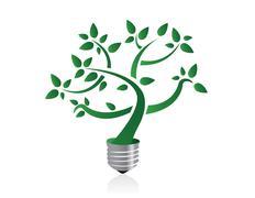 tree in lightbulb socket symbolizing ecology and eco environmental friendly e - stock illustration