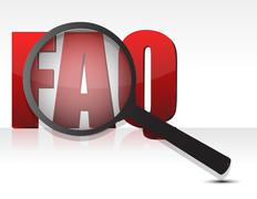 Faq sign enlarged by a magnifying glass Stock Illustration
