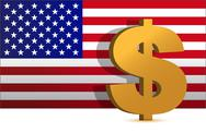 Stock Illustration of dollar sign on us flag background - illustration design