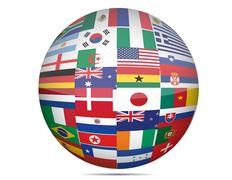 Flags of the world in globe format over a white background. Stock Illustration
