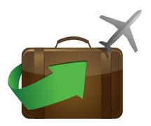 Airliner and suitcase on white background Stock Illustration