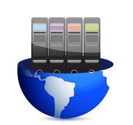 Stock Illustration of servers and communication illustration design over white