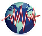 Stock Illustration of globe and earth quake lines illustration