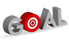 goal word with bullseye target sign - stock illustration