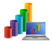 Laptop with chart on a background of illustration business Stock Illustration