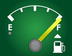 detailed gas gage illustration design isolated on a dark green background - stock illustration