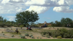 Time Lapse Tractors Golf Course Stock Footage