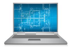 laptop with abstract architectural blueprint - stock illustration