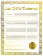 Stock Illustration of antique quill and old-fashioned paper with text of last will