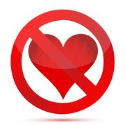 Stock Illustration of valentine's day concept, don't love sign.