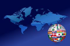 international communication concept. world flags on globe illustration - stock illustration