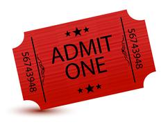 admit one movie ticket isolated on white - stock illustration