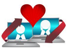 Online dating illustration concept over white Stock Illustration