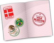 Passport with rejected visa stamp Stock Illustration