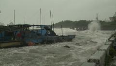 Hurricane Storm Surge Waves Swamp Small Harbor Stock Footage