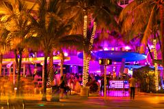 Ocean Drive scene at night lights, Miami beach, Florida. - stock photo