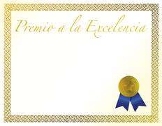 Spanish award of excellence with golden ribbon. Stock Illustration