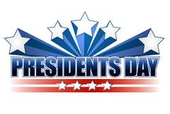 Stock Illustration of presidents day sign isolated over a white background.