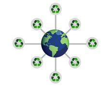 Stock Illustration of recycle around the world concept