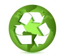 Recycling symbol over earth globe conceptual illustration Stock Illustration