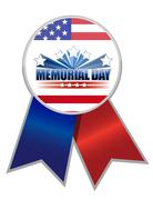 Stock Illustration of memorial day ribbon with the american flag colors isolated over white.