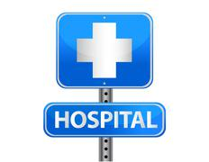 Stock Illustration of hospital street sign on a white background