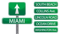 miami florida street signs isolated over a white background - stock illustration