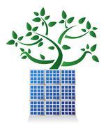 solar panel plant illustration design , on white background - stock illustration