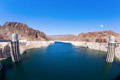 Lake mead and hoover dam Stock Photos