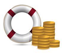 Coins and lifesaver illustration design over white Stock Illustration
