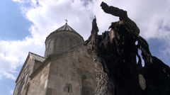 Armenian monastery, church, burnt tree, timelapse, clouds Stock Footage