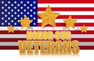 Stock Illustration of us honor our veterans gold illustration sign design on white
