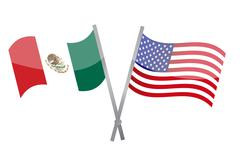 Stock Illustration of american and mexican alliance and friendship illustration