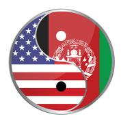 Ying yan symbol with the american and afghan flags. Stock Illustration