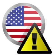 Stock Illustration of us flag seal with a warning sign illustration on top
