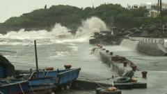 Coastal Flood From High Tide Waves During Hurricane - stock footage