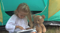 Child, Girl Playing on Tablet, Ipad by Tent in Mountains, Camping, Kids in Trip HD Footage