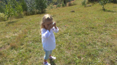 Photographer Child Taking Picture, Mountains Camping, Tourist Girl Photographing - stock footage