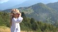 Photographer Child Taking Pictures in Mountains View, Tourist Girl Photographing Footage