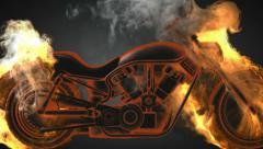 chopper bike in fire. Alpha matted - stock footage