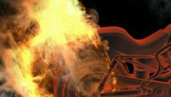Chopper pyörä tuleen. Arkistovideo