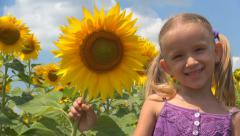 Girl, Child Playing, Smelling Crop Sunflower Field, Children, Countryside, Farm Stock Footage